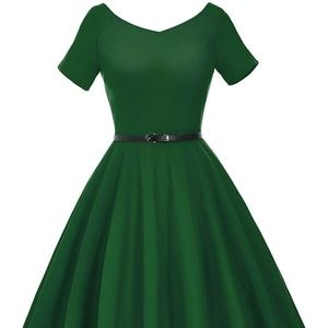 Women's 1950 V-Neck Vintage Evening Party Dress